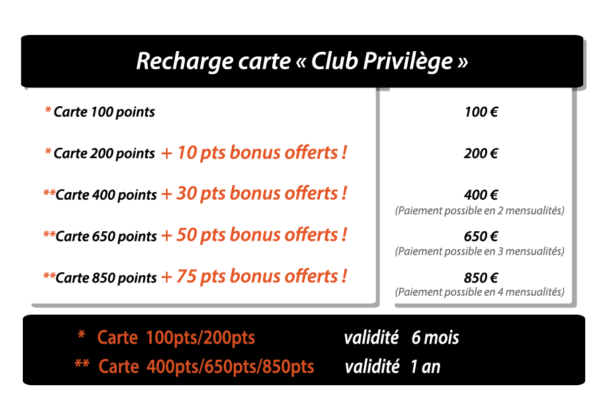 Recharge carte club privilege